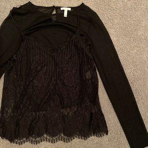 leith sheer / mesh black long sleeve & lace tank